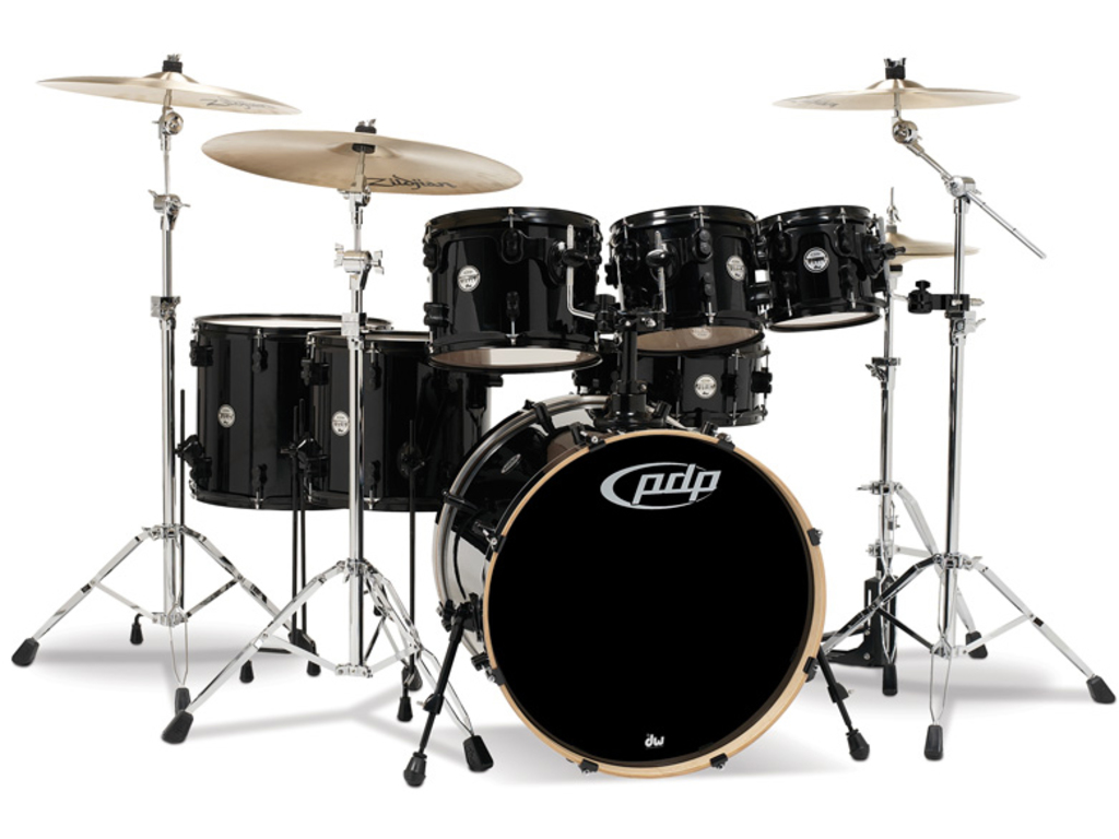 "Shell Set PDP Concept Maple CM7 22"" Pearlescent Black, 22"", 8"", 10"", 12"", 14"", 16"", 14"", zonder hardware"