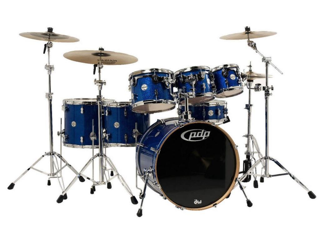 "Shell Set PDP Concept Maple CM7 22"" Blue Sparkle, 22"", 8"", 10"", 12"", 14"", 16"", 14"", zonder hardware"
