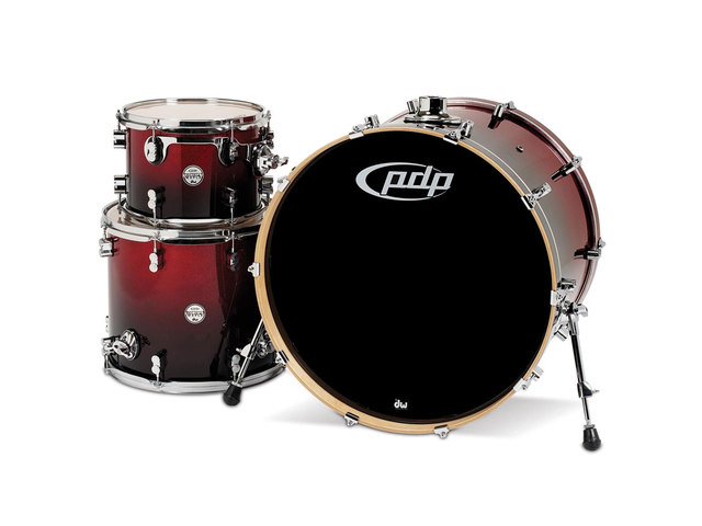 "Shell Set PDP Concept Maple CM3 24"" Red to Black Sparkle Fade, 24"", 12"", 16"", zonder hardware"