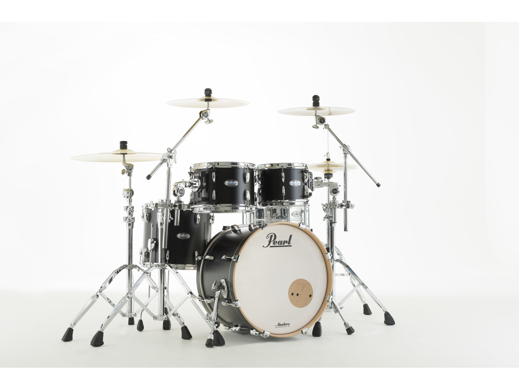 "Shell Set Pearl Masters Maple Complete MCT904XEP/C339 Matte Caviar Black, 20"", 10"", 12"", 14"""