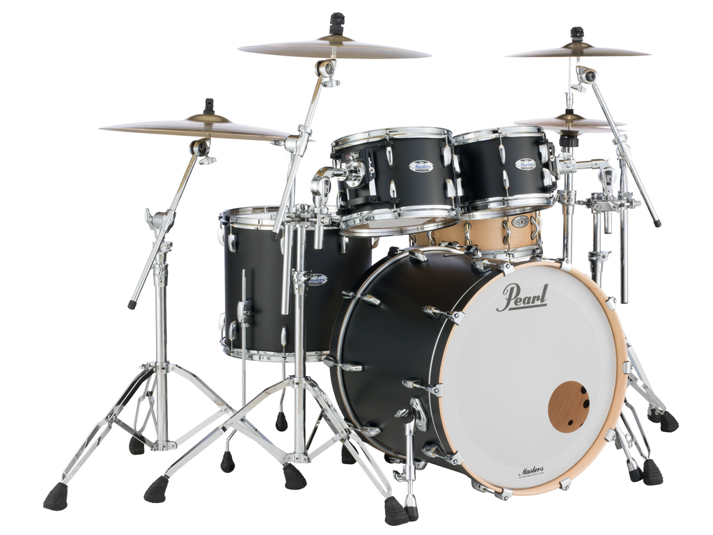 "Shell Set Pearl Masters Maple Complete MCT924XEP/C339 Matte Caviar Black, 22"", 10"", 12"", 16"""