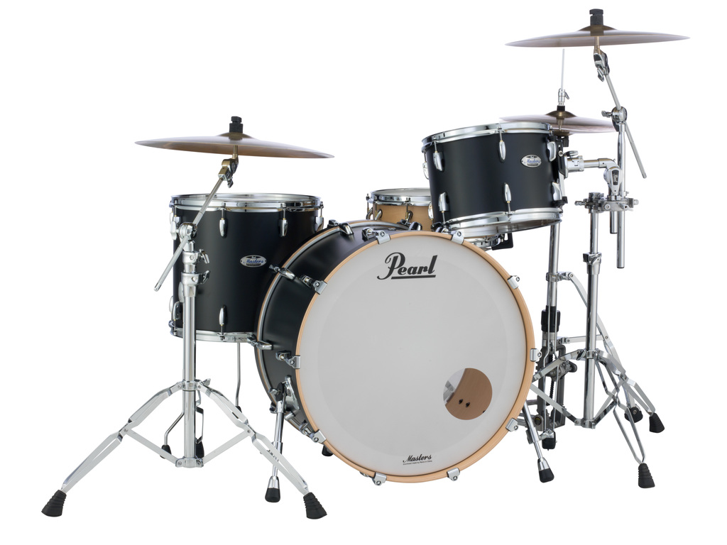 "Shell Set Pearl Masters Maple Complete MCT943XEP/C339 Matte Caviar Black, 24"", 13"", 16"""