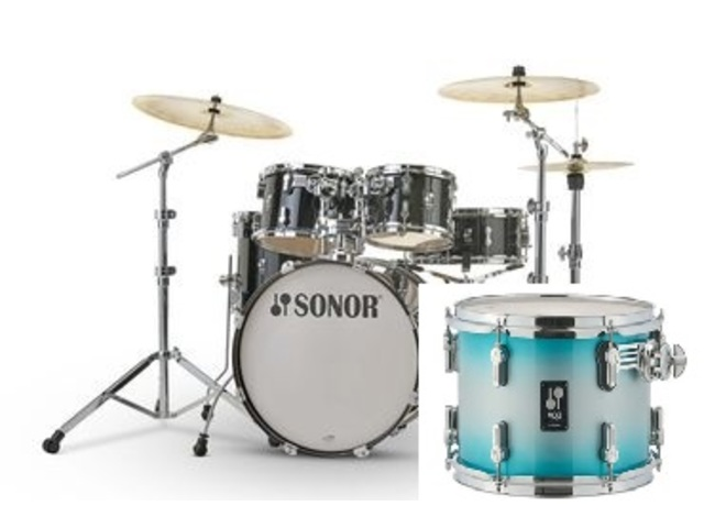 "Shell Set Sonor AQ2 Serie Stage Set TSB Transparant Stain Black, 22"", 10"", 12"", 16"", 14"""