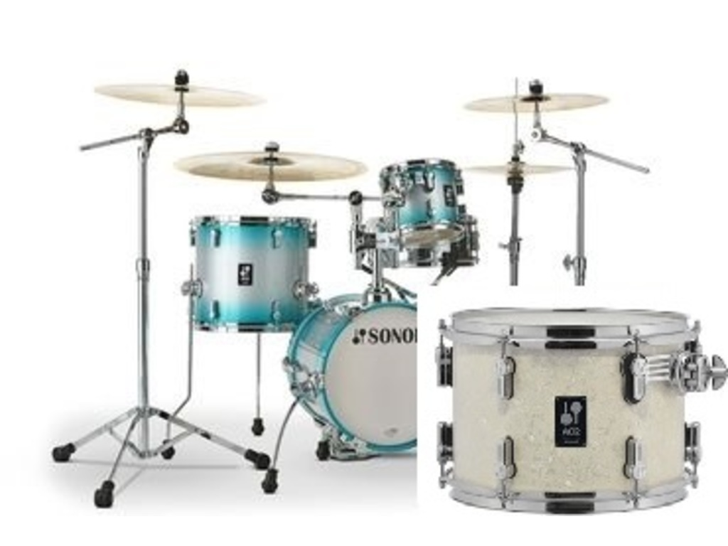 "Shell Set Sonor AQ2 Serie Martini Set WHP White Pearl, 14"", 8"", 13"", 12"""