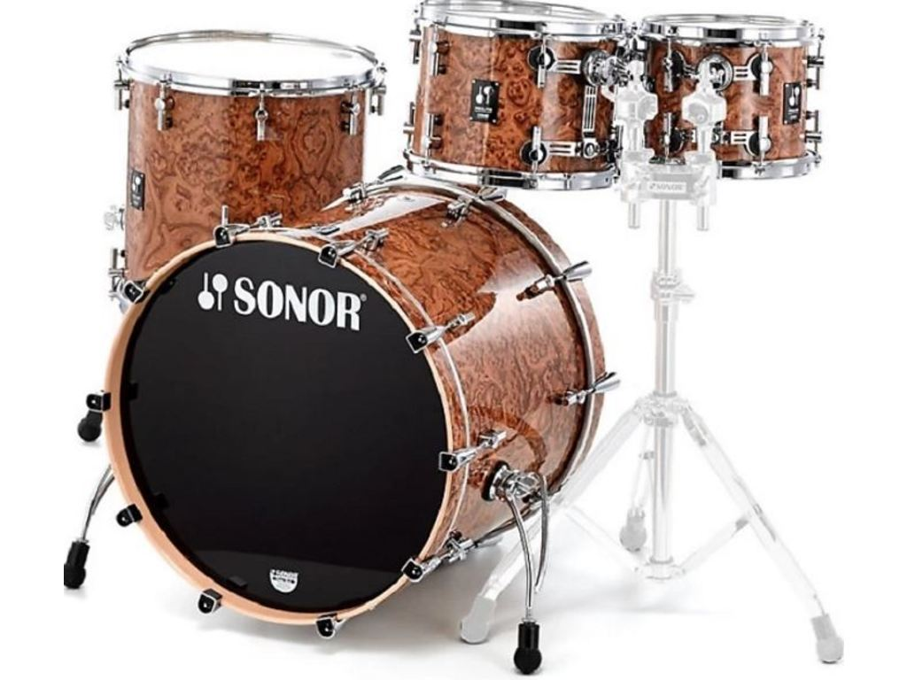 "Shell Set Sonor Prolite Serie PL 12 Stage 3 NM Chocolate Burl, 22"", 10"", 12"", 16"""