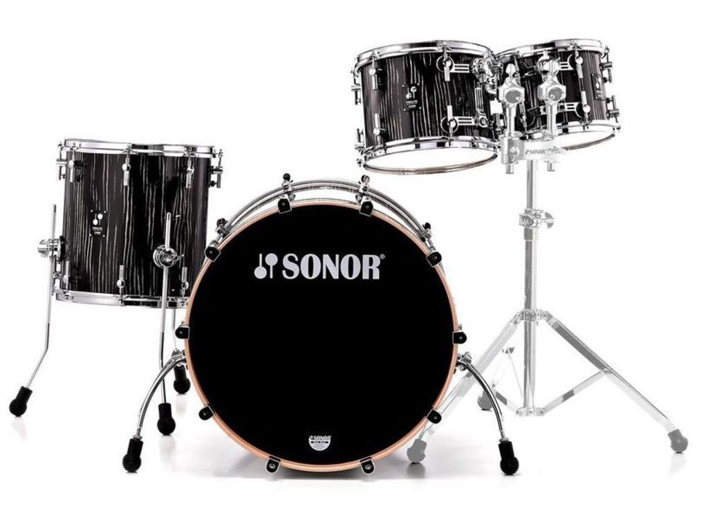 "Shell ensemble Sonor ProLite série PL 12 Stage 3 NM Ebony White Stripes, , 22"", 10"", 12"", 16"""