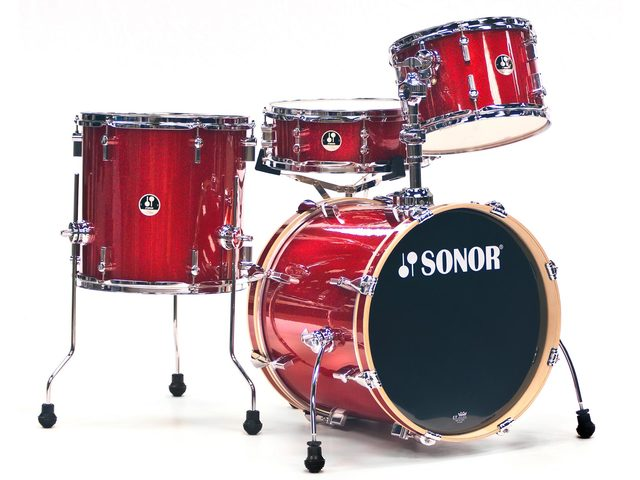 "Shell Set Sonor Special Edition Serie SSE 12 Bop 4pc Red Galaxy Sparkle, 18"", 12"", 14"", 14"""