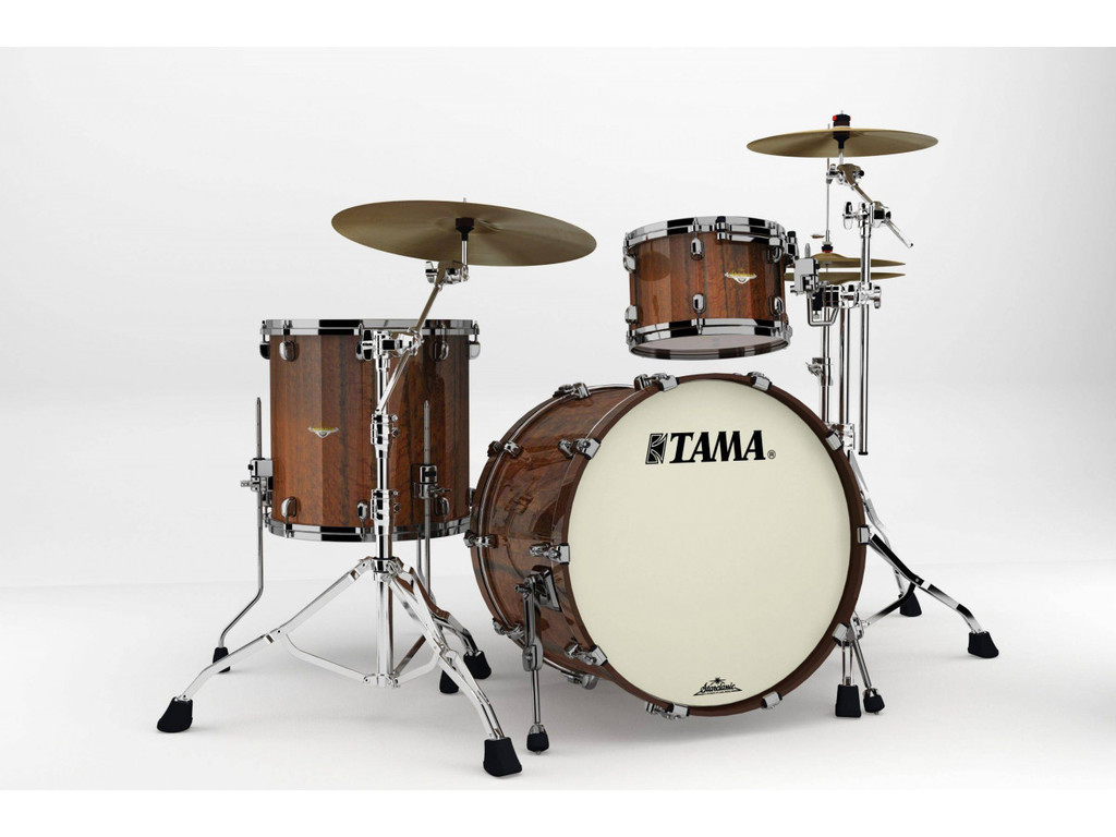 "Shell Set Tama Starclassic Bubinga BE32RZBS-TMGF Midnight Tigerwood Fade, 22"", 12"", 16"", Zwart Nikkel Hardware"