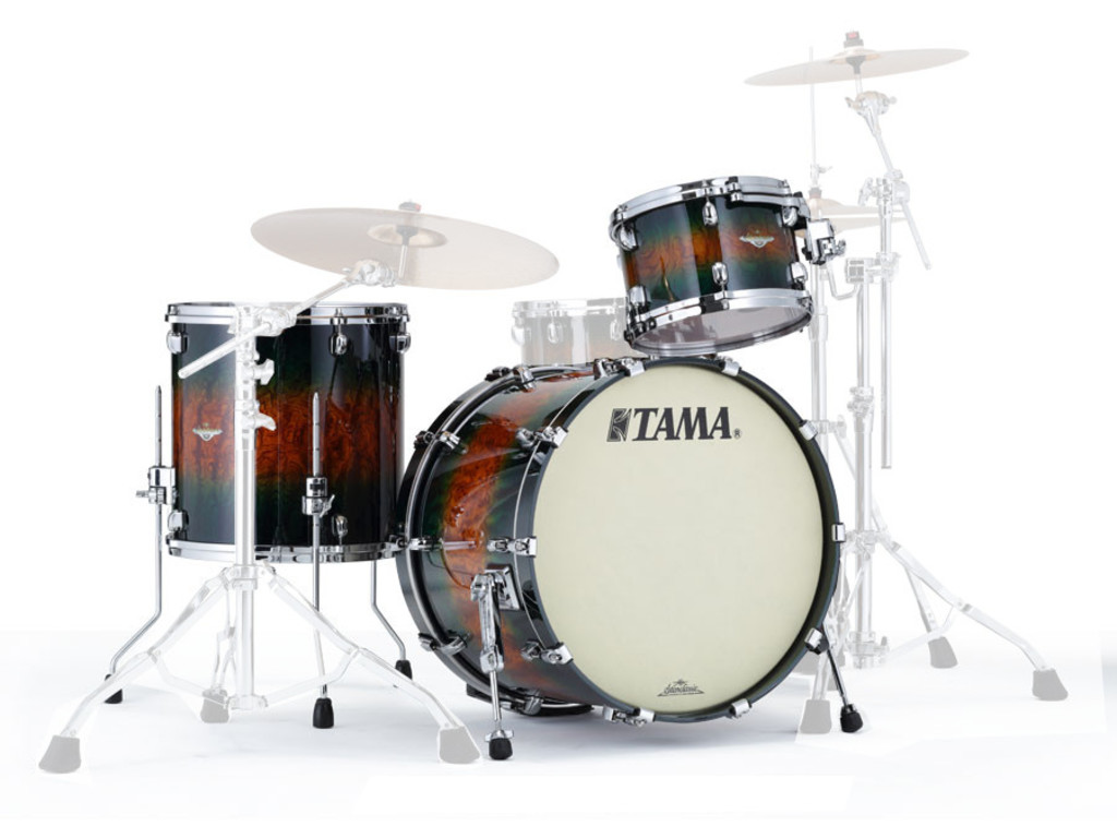 "Shell Set Tama Starclassic Bubinga BE32RZUS-QJQB Jungle Quilted Bubinga Burst, 22"", 12"", 16"", Smoked Zwart Nikkel Hardware"