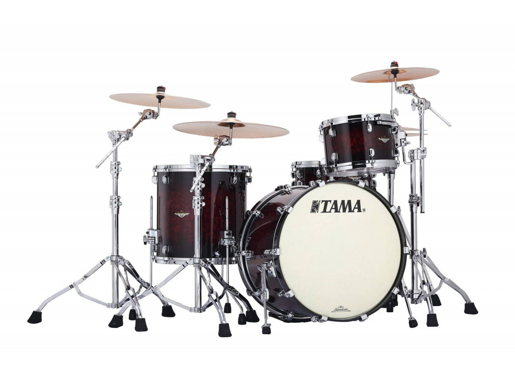 "Shell Set Tama Starclassic Bubinga BG32RZS-VRB Volcanic Red Burst, 22"", 12"", 16"", Chrome Hardware"