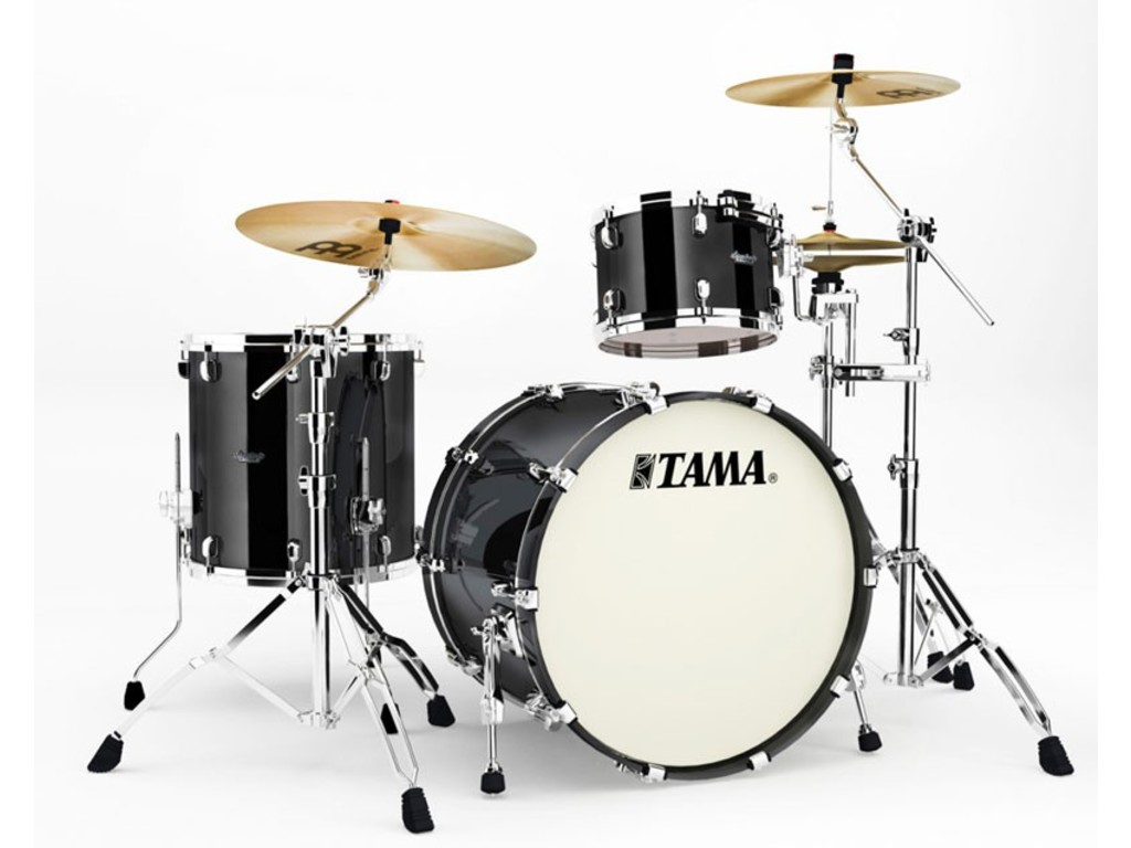 "Shell Set Tama Starclassic Bubinga BG32RZS-PBK Piano Black, 22"", 12"", 16"", Chrome Hardware"