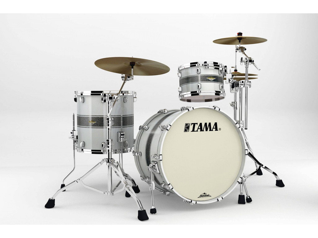 "Shell Set Tama Starclassic Bubinga BG32RZS-SSR Silver Snow Racing Stripe, 22"", 12"", 16"", Chrome Hardware"