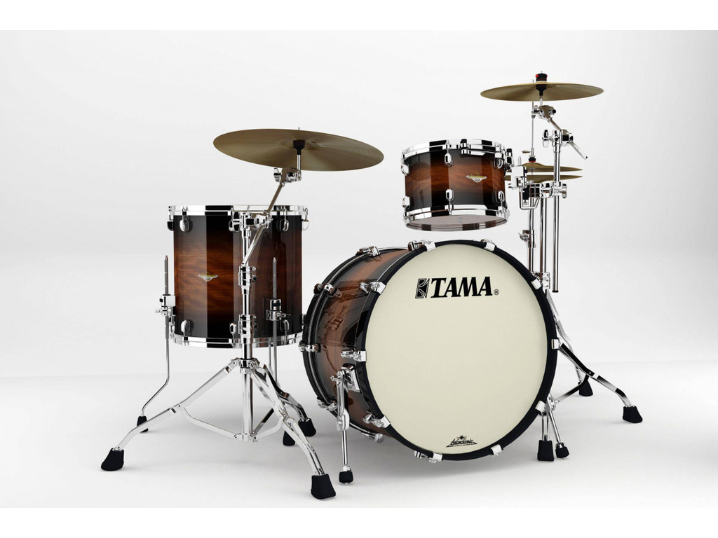 "Shell Set Tama Starclassic Bubinga BG32RZS-NBB Natural Bubinga Burst, 22"", 12"", 16"", Chrome Hardware"