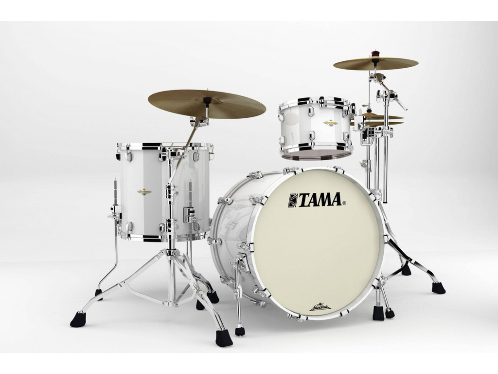 "Shell Set Tama Starclassic Bubinga BG32RZS-PWH Piano White, 22"", 12"", 16"", Chrome Hardware"