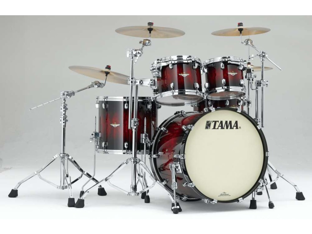 "Shell Set Tama Starclassic Bubinga BE42ZS-QGQB Garnet Quilted Bubinga Burst, 22"", 10"", 12"", 16"", Chrome Hardware"
