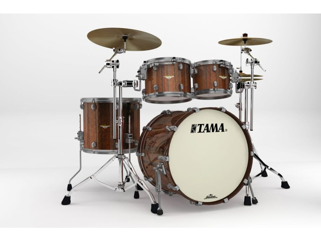"Shell Set Tama Starclassic Bubinga BE42ZUS-TMGF Midnight Tigerwood Fade, 22"", 10"", 12"", 16"", Smoked Zwart Nikkel HW"