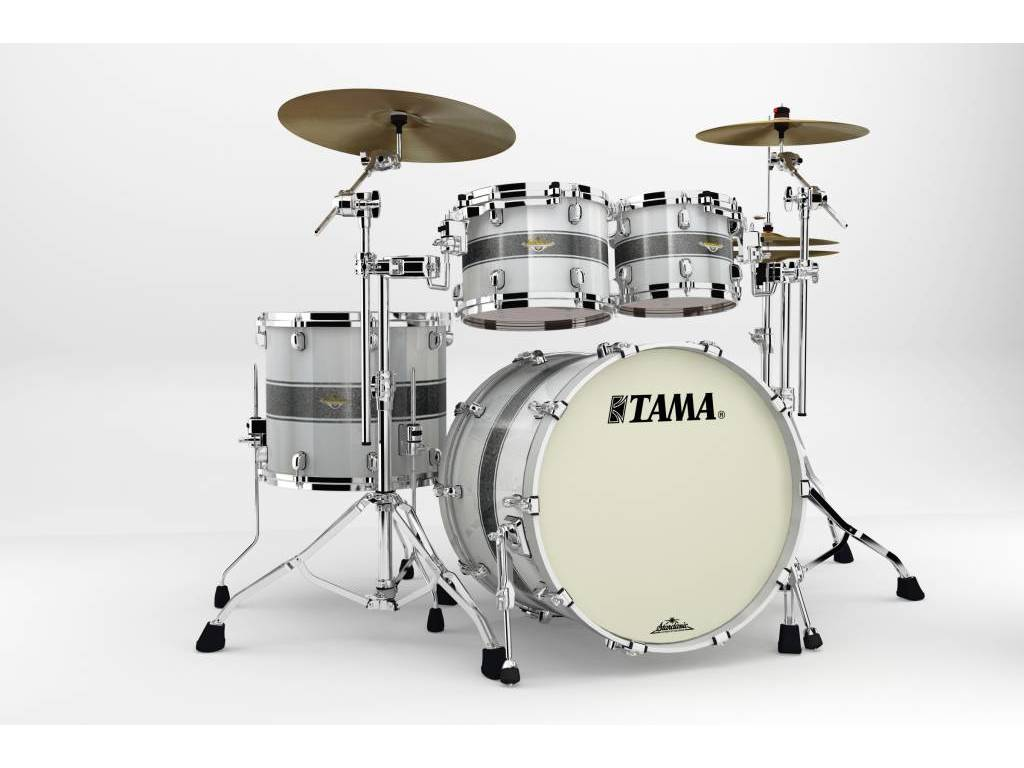 "Shell Set Tama Starclassic Bubinga BG42ZS-SSR Silver Snow Racing Stripe, 22"", 10"", 12"", 16"", Chrome Hardware"