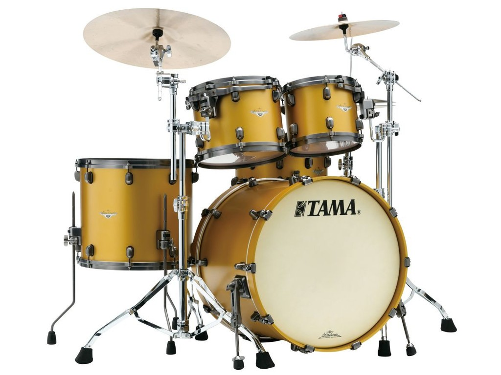 "Shell Set Tama Starclassic Bubinga BG42ZS-SAM Satin Aztec Gold Metallic, 22"", 10"", 12"", 16"", Chrome Hardware"