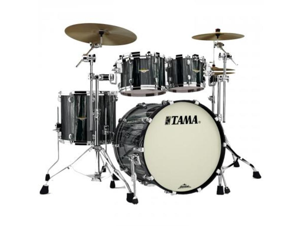 "Shell Set Tama Starclassic Bubinga BG42ZS-BCS Black Clouds & Silver Linings, 22"", 10"", 12"", 16"", Chrome Hardware"