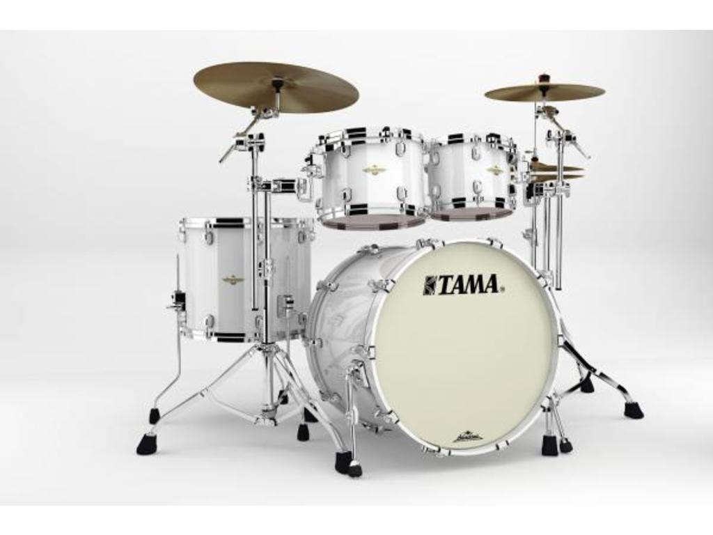 "Shell Set Tama Starclassic Bubinga BG42ZS-PWH Piano White, 22"", 10"", 12"", 16"", Chrome Hardware"