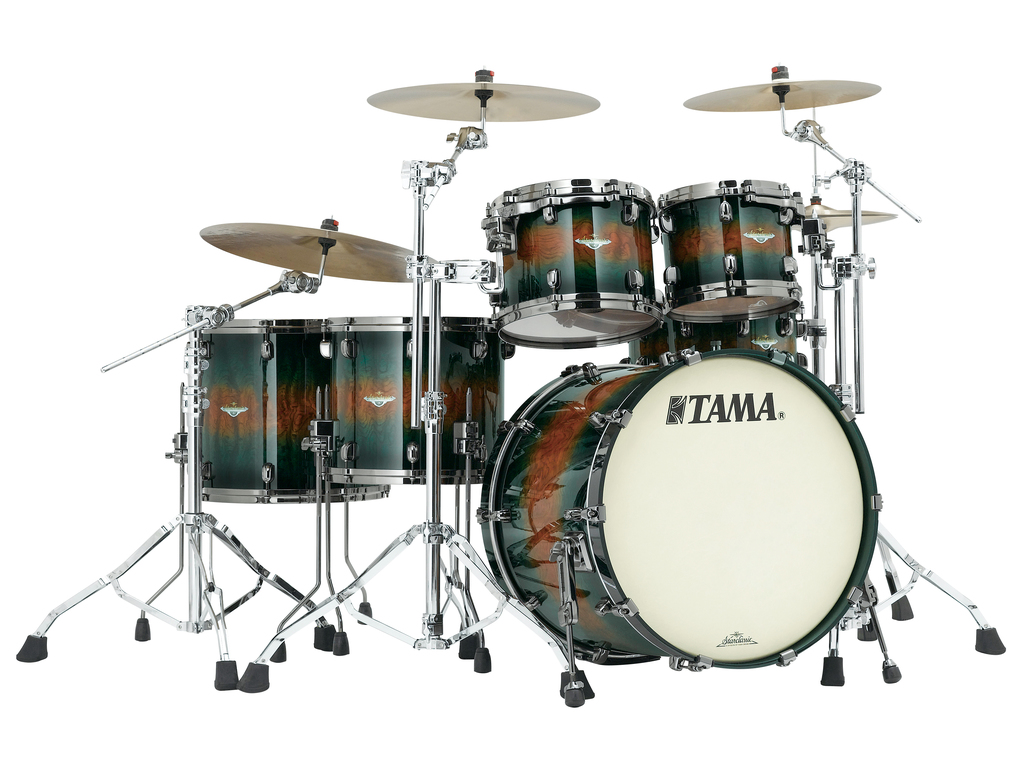 "Shell Set Tama Starclassic Bubinga BE52ZS-QJQB Jungle Quilted Bubinga Burst, 22"", 10"", 12"", 14"", 16"", Chrome Hardware"