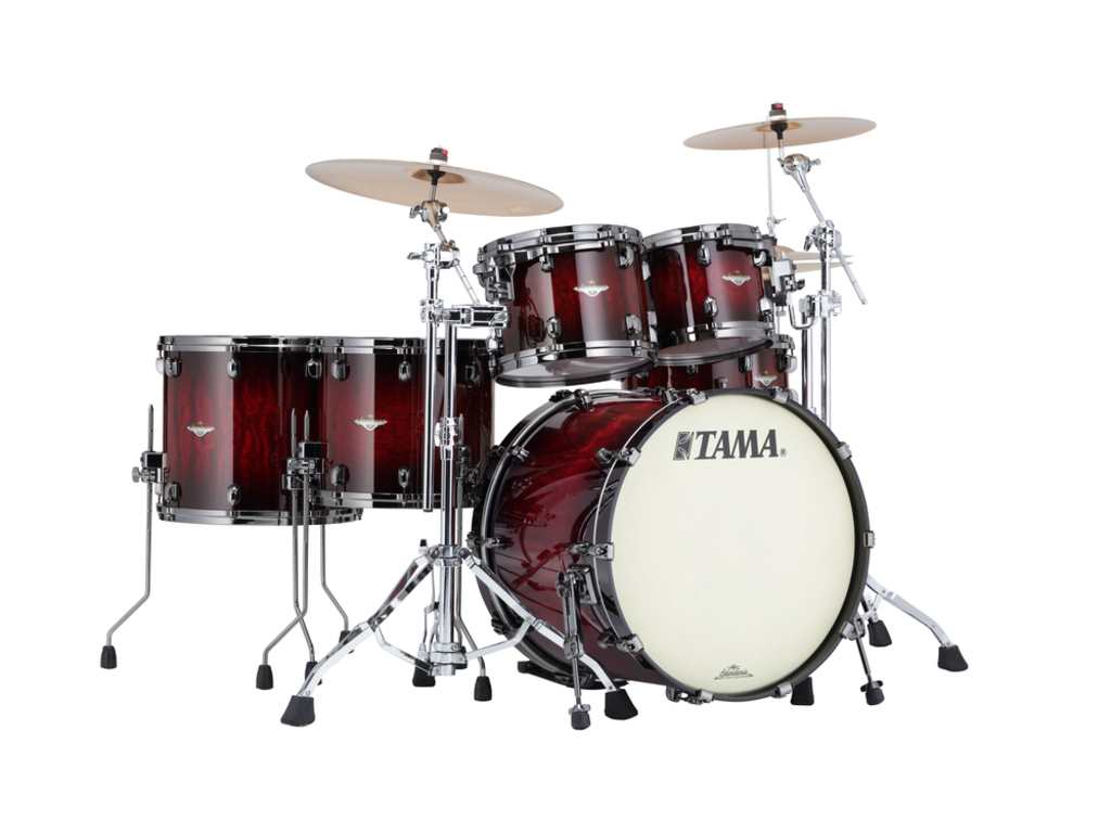 "Shell Set Tama Starclassic Bubinga BE52ZS-QGQB Garnet Quilted Bubinga Burst, 22"", 10"", 12"", 14"", 16"", Chrome Hardware"