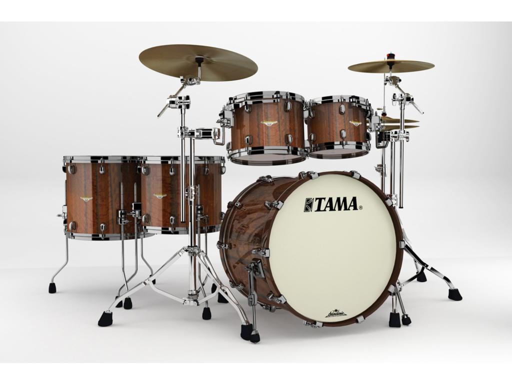 "Shell Set Tama Starclassic Bubinga BE52ZBS-TMGF Midnight Tigerwood Fade, 22"", 10"", 12"", 14"", 16"", Zwart Nikkel Hardware"