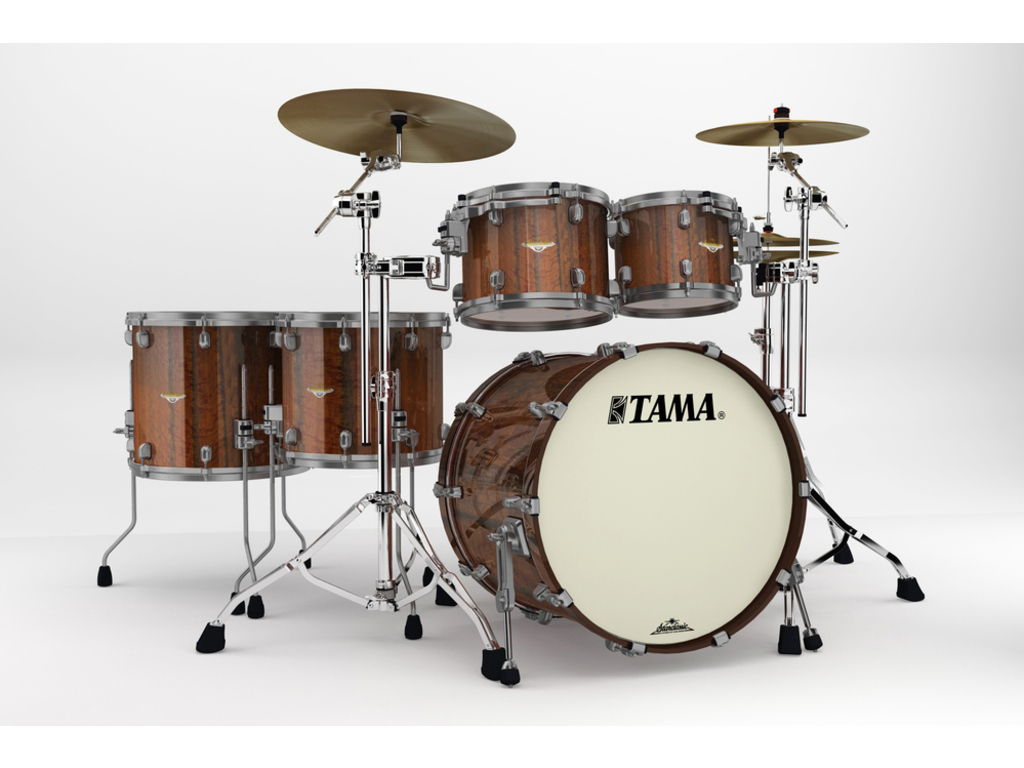 "Shell Set Tama Starclassic Bubinga BE52ZUS-TMGF Midnight Tigerwood Fade, 22"", 10"", 12"", 14"", 16"", Smoked Zwart Nikkel HW"