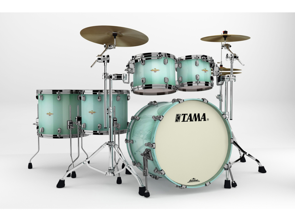 "Shell Set Tama Starclassic Bubinga BG52ZS-LJB Light Jade Burst, 22"", 10"", 12"", 14"", 16"", Chrome Hardware"
