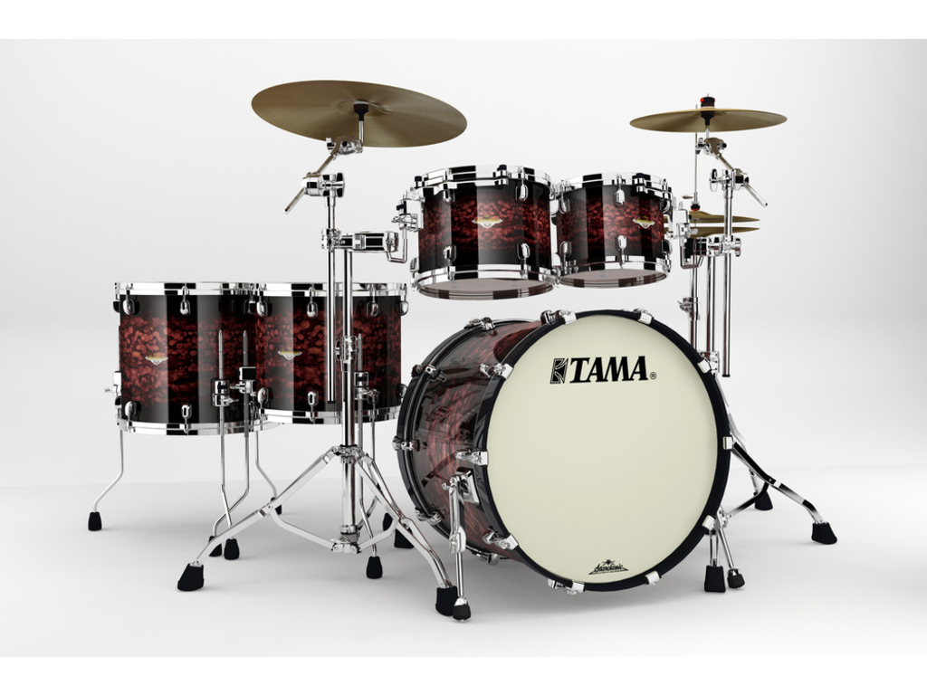 "Shell Set Tama Starclassic Bubinga BG52ZS-VRB Volcanic Red Burst, 22"", 10"", 12"", 14"", 16"", Chrome Hardware"