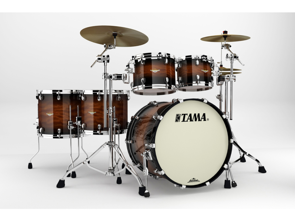 "Shell Set Tama Starclassic Bubinga BG52ZS-NBB Natural Bubinga Burst, 22"", 10"", 12"", 14"", 16"", Chrome Hardware"