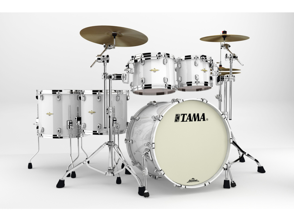 "Shell Set Tama Starclassic Bubinga BG52ZS-PWH Piano White, 22"", 10"", 12"", 14"", 16"", Chrome Hardware"