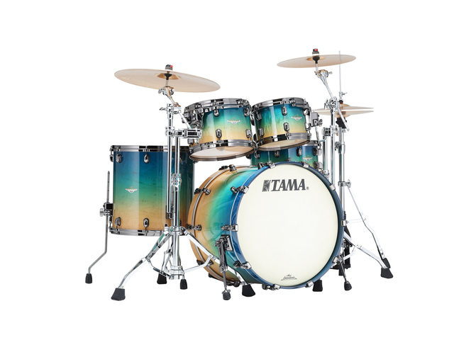 "Shell Set Tama Starclassic Maple ME42TZBS-GFCB Figured Caribbean Blue Fade, 22"", 10"", 12"", 16"", Zwart Nikkel Hardware"