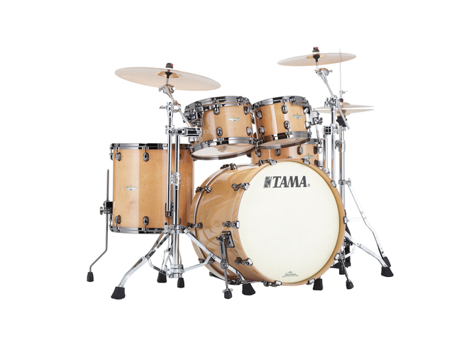 "Shell Set Tama Starclassic Maple ME42TZBS-GFMG Figured Maple Gloss, 22"", 10"", 12"", 16"", Zwart Nikkel Hardware"