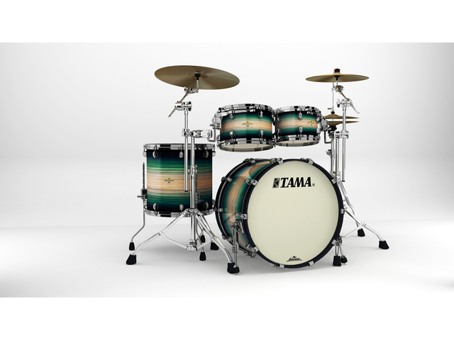 "Shell Set Tama Starclassic Maple ME42TZBS-LEWB Emerald Pacific Walnut Burst, 22"", 10"", 12"", 16"", Zwart Nikkel Hardware"
