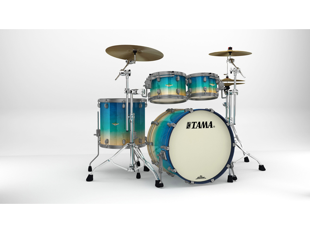 "Shell Set Tama Starclassic Maple ME42TZUS-GFCB Figured Caribbean Blue Fade, 22"", 10"", 12"", 16"", Smoked Zwart Nikkel Hardware"