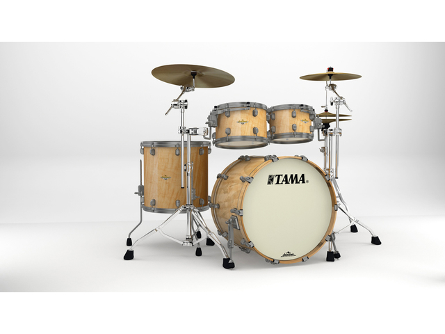 "Shell Set Tama Starclassic Maple ME42TZUS-GFMG Figured Maple Gloss, 22"", 10"", 12"", 16"", Smoked Zwart Nikkel Hardware"