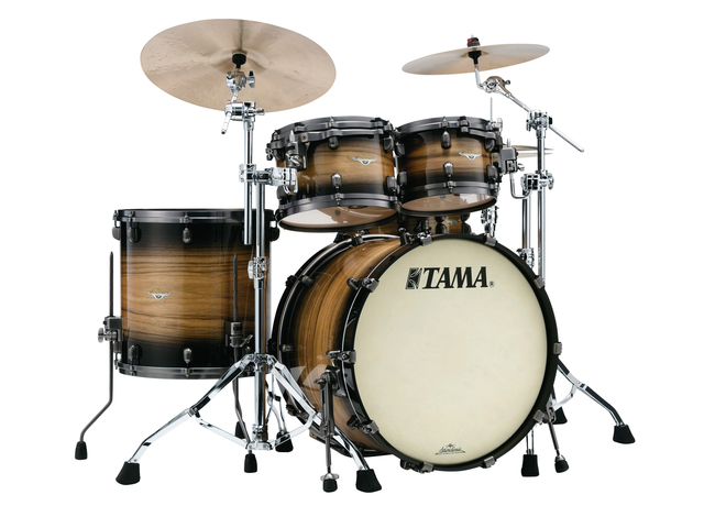 "Shell Set Tama Starclassic Maple ME42TZUS-LNWB Natural Pacific Walnut Burst, 22"", 10"", 12"", 16"", Smoked Zwart Nikkel Hardware"