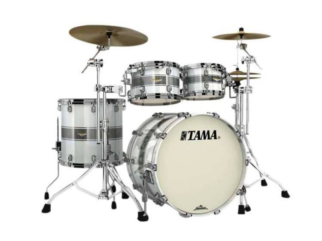 "Shell Set Tama Starclassic Maple MA42TZBNS-SSR Silver Snow Racing Stripe, 22"", 10"", 12"", 16"", Zwart Nikkel Hardware"