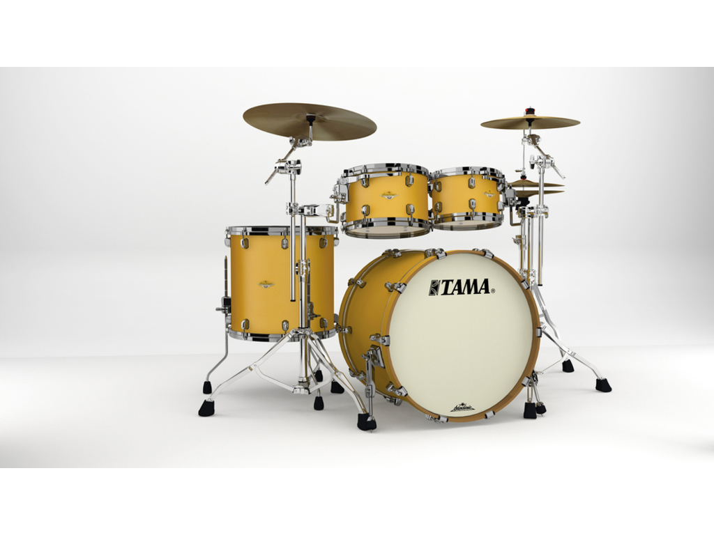 "Shell Set Tama Starclassic Maple MA42TZBNS-SAM Satin Aztec Gold Metallic, 22"", 10"", 12"", 16"", Zwart Nikkel Hardware"