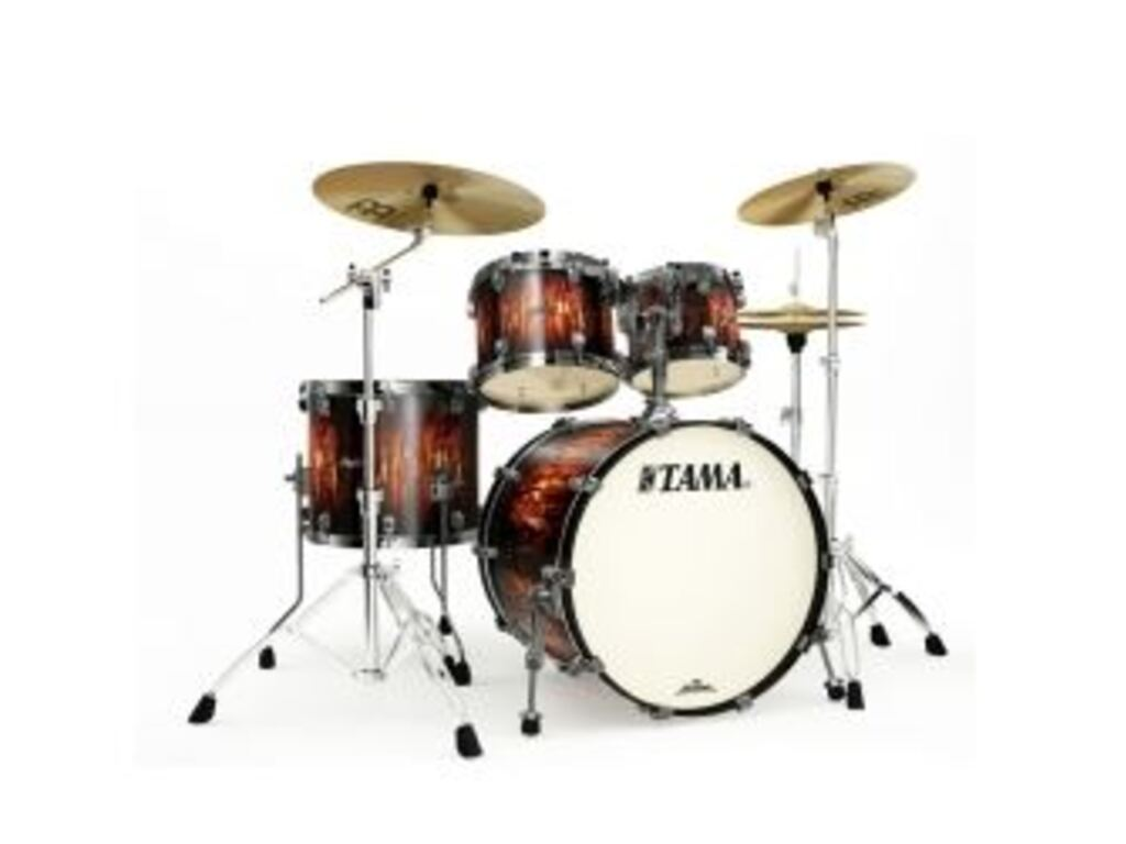 "Shell Set Tama Starclassic Maple MA42TZUS-MBB Molten Satin Brown Burst, 22"", 10"", 12"", 16"", Smoked Zwart Nikkel Hardware"