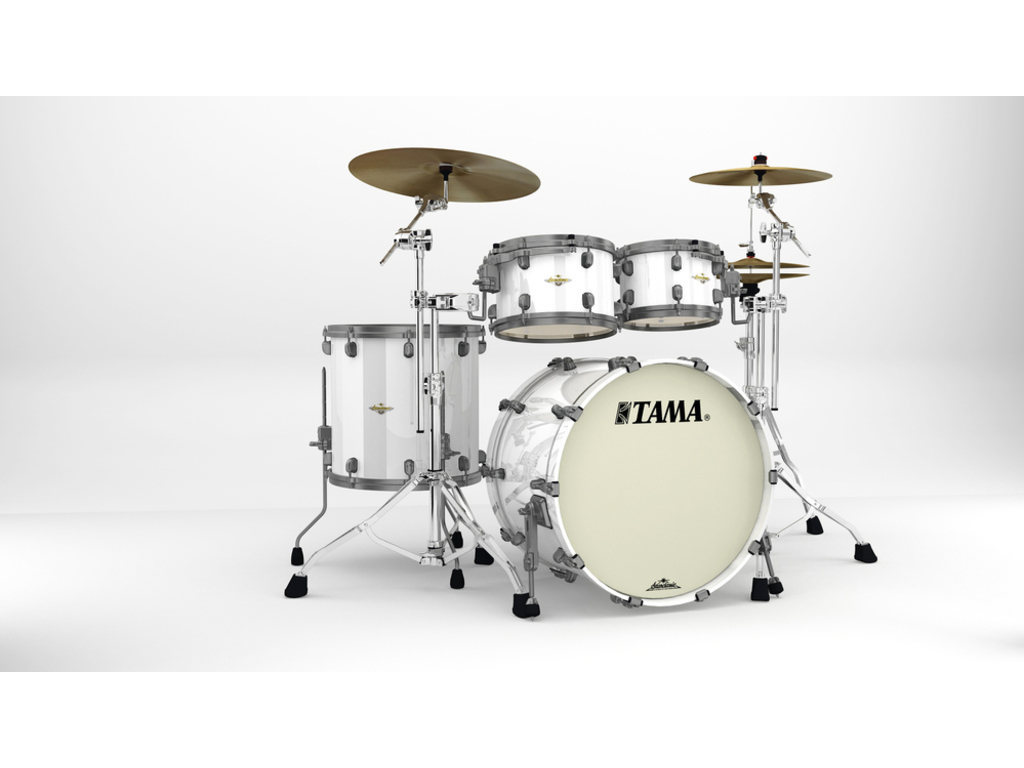 "Shell Set Tama Starclassic Maple MA42TZUS-PWH Piano White, 22"", 10"", 12"", 16"", Smoked Zwart Nikkel Hardware"