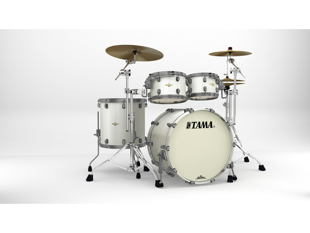 "Shell Set Tama Starclassic Maple MA42TZUS-SPW Satin Pearl White, 22"", 10"", 12"", 16"", Smoked Zwart Nikkel Hardware"