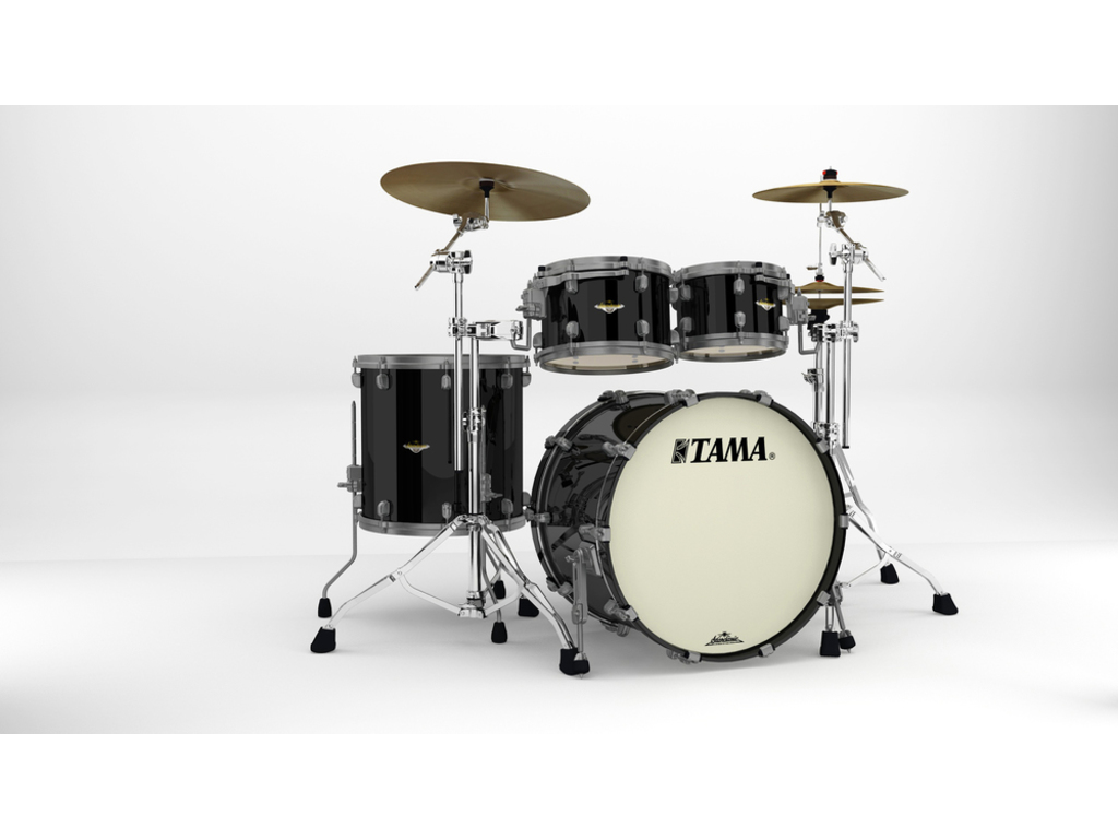 "Shell Set Tama Starclassic Maple MA42TZUS-PBK Piano Black, 22"", 10"", 12"", 16"", Smoked Zwart Nikkel Hardware"