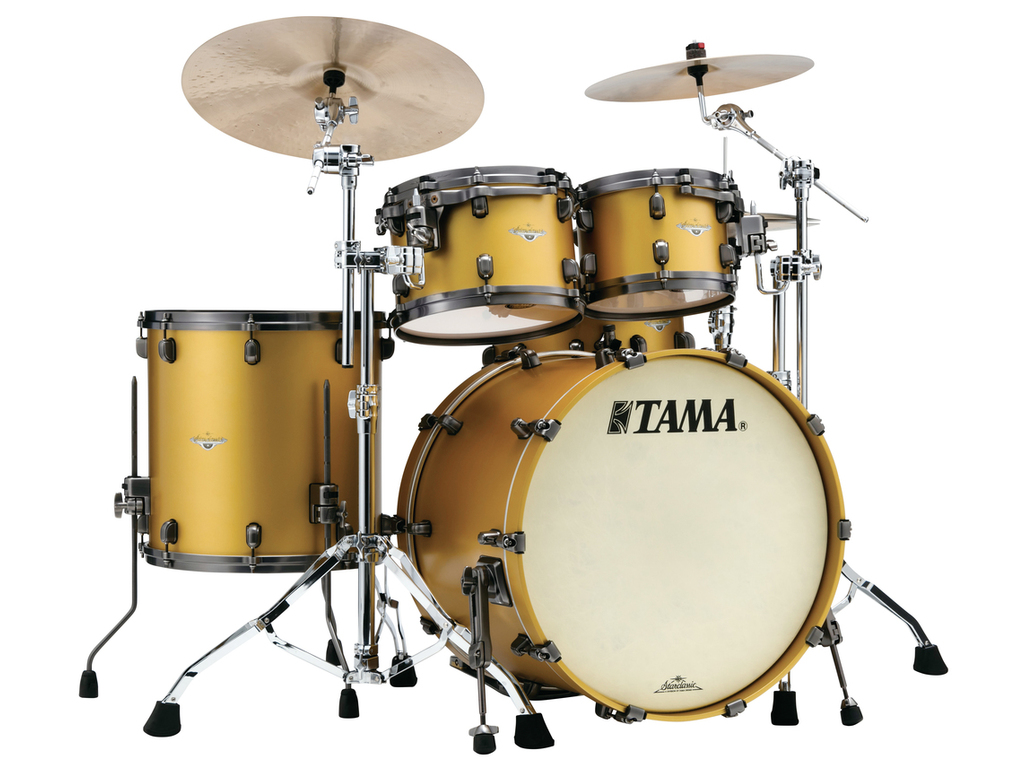 "Shell Set Tama Starclassic Maple MA42TZUS-SAM Satin Aztec Gold Metallic, 22"", 10"", 12"", 16"", Smoked Zwart Nikkel Hardware"