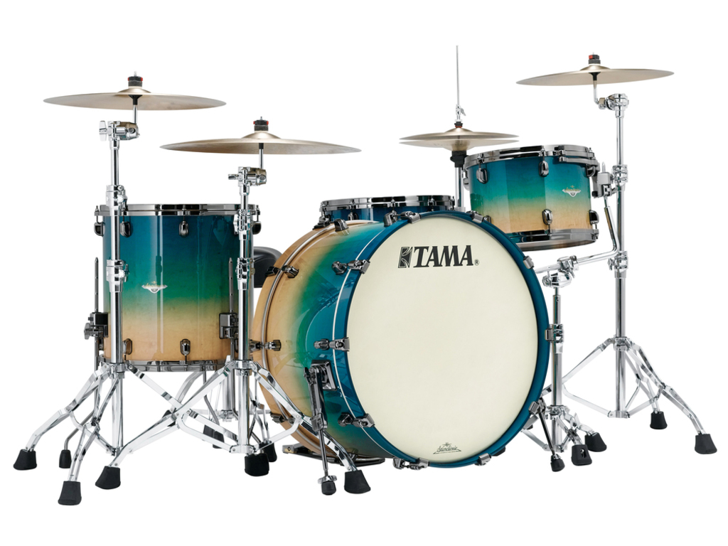 "Shell Set Tama Starclassic Maple ME34CZBS-GFCB Figured Caribbean Blue Fade, 24"", 13"", 16"", Zwart Nikkel Hardware"