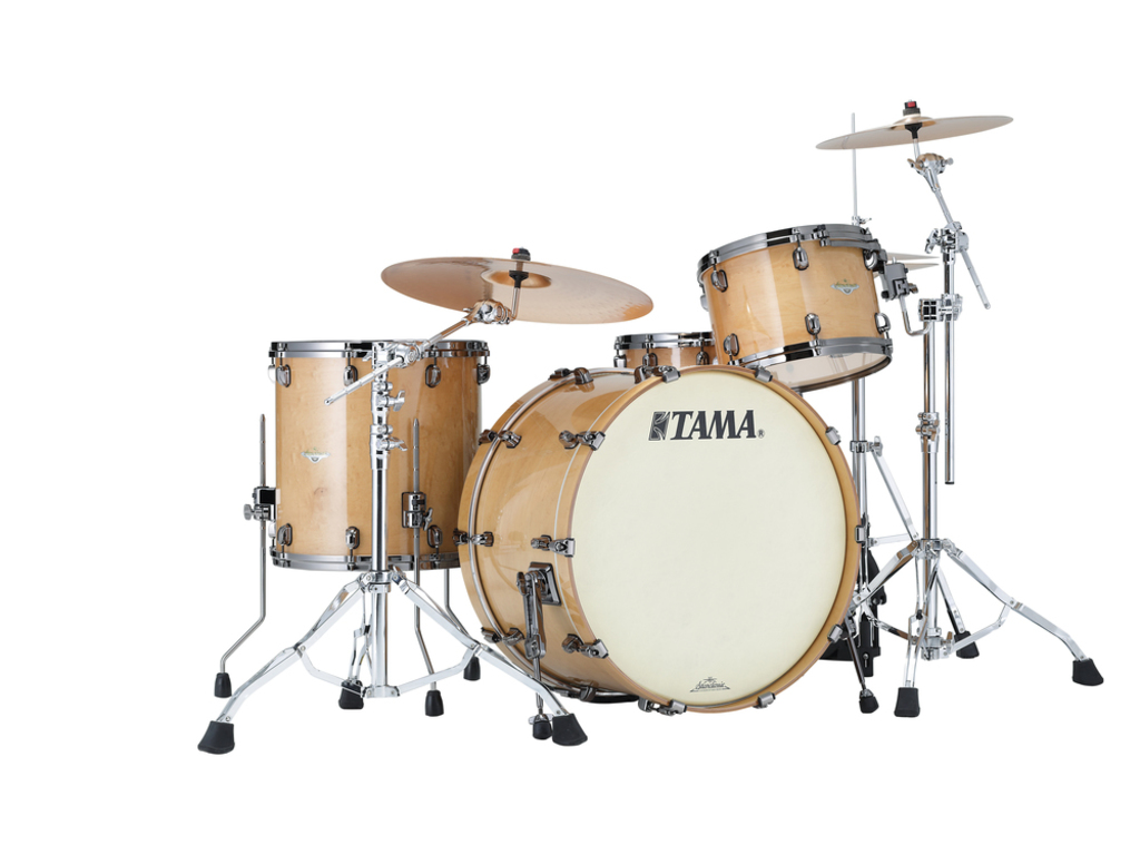 "Shell Set Tama Starclassic Maple ME34CZBS-GFMG Figured Maple Gloss, 24"", 13"", 16"", Zwart Nikkel Hardware"