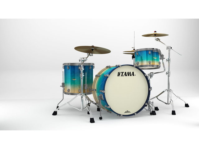 "Shell Set Tama Starclassic Maple ME34CZUS-GFCB Figured Caribbean Blue Fade, 24"", 13"", 16"", Smoked Zwart Nikkel Hardware"