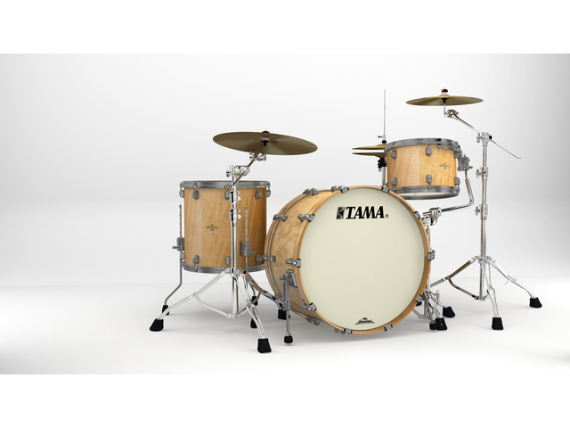 "Shell Set Tama Starclassic Maple ME34CZUS-GFMG Figured Maple Gloss, 24"", 13"", 16"", Smoked Zwart Nikkel Hardware"
