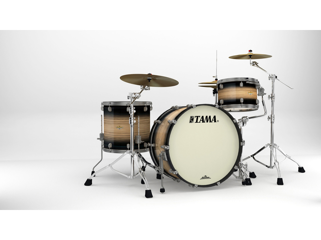 "Shell Set Tama Starclassic Maple ME34CZUS-LNWB Natural Pacific Walnut Burst, 24"", 13"", 16"", Smoked Zwart Nikkel Hardware"
